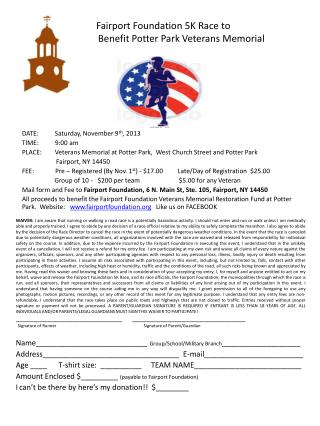 zz Faf  Fairport Foundation 5K Race to      B  Benefit Potter Park Veterans Memorial