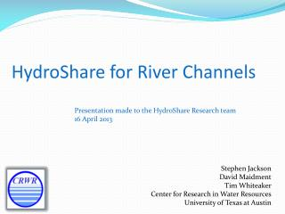 HydroShare  for River Channels