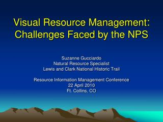 Visual Resource Management : Challenges Faced  by the NPS