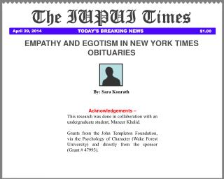EMPATHY AND EGOTISM IN NEW YORK TIMES OBITUARIES