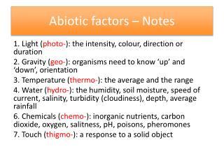 Abiotic factors – Notes