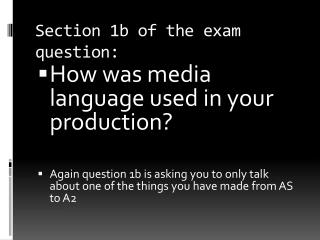 Section 1b of the exam question: