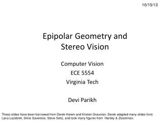 Epipolar  Geometry and Stereo Vision