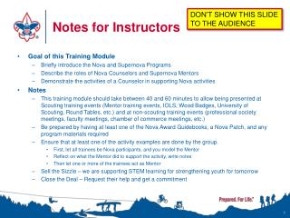 Notes for Instructors