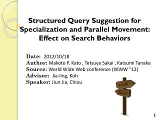 Date:   2012/10/18 Author:  Makoto P.  Kato , Tetsuya Sakai ,  Katsumi Tanaka Source:  W orld  W ide  W eb conference (