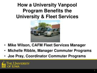 How a University Vanpool Program Benefits the  University & Fleet Services