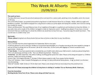 This Week At  Allsorts 23/09/2013