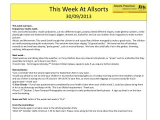 This Week At  Allsorts 30 / 09/2013