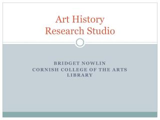 Art History  Research Studio