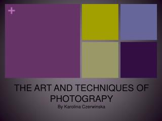 THE ART AND  TECHNIQUES  OF PHOTOGRAPY By Karolina Czerwinska