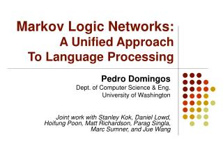 markov logic networks: a unified approach to language processing