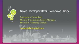 Nokia Developer Days � Windows Phone
