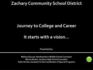Zachary Community School District Journey to College and Career It starts with a vision… Presented by: Melissa  Doucet