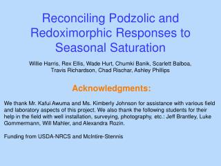 Reconciling  Podzolic  and  Redoximorphic  Responses to Seasonal Saturation