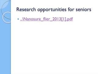Research opportunities for seniors