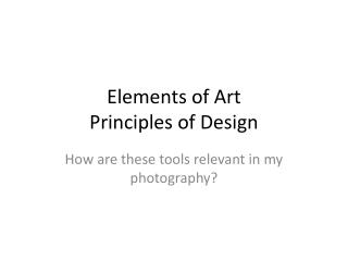 Elements of Art Principles of Design