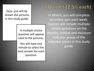 4 Quizzes (2.5% each)