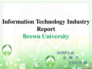 Information Technology Industry Report Brown University