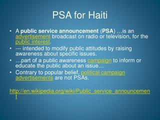 PSA for Haiti