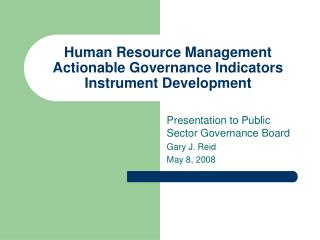 human resource management actionable governance indicators instrument development