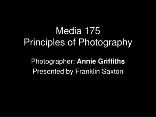 Media 175 Principles of Photography