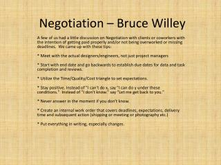 Negotiation – Bruce Willey