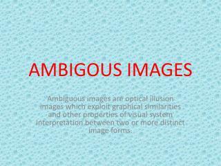 AMBIGOUS IMAGES