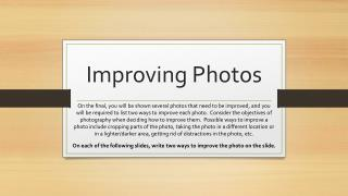 Improving Photos