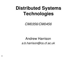 Distributed Systems Technologies