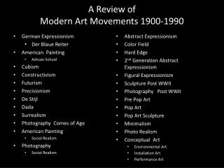 A Review of  Modern Art Movements 1900-1990