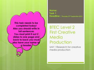 BTEC Level 2 First Creative Media Production