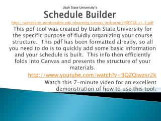 Utah State University's Schedule Builder