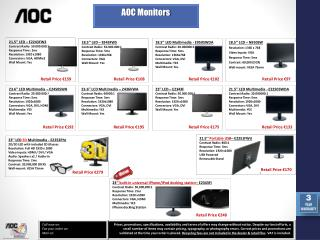 18.5'' LCD  –  N950SW Resolution: 1366 x 768 Video Inputs: VGA Response Time: 5ms Contrast: 60,000 (DCR) Wall-mount: VE