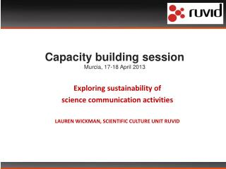 Capacity building session Murcia, 17-18 April 2013