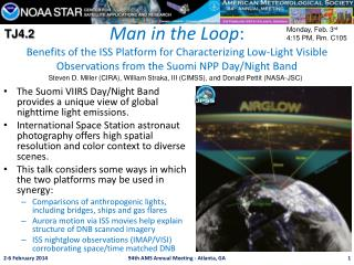 Man in the Loop : Benefits of the ISS Platform for Characterizing Low-Light Visible Observations from the  Suomi  NPP D