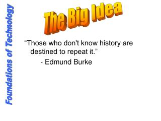 """Those who don't know history are destined to repeat it."" 		- Edmund Burke"