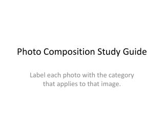 Photo Composition Study Guide