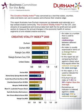 The Creative Vitality  Index TM was conceived as a tool that states, counties, cities and towns can use to assess and e