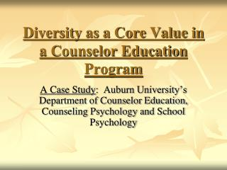 Diversity as a Core Value in a Counselor Education Program