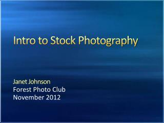 Intro to Stock Photography