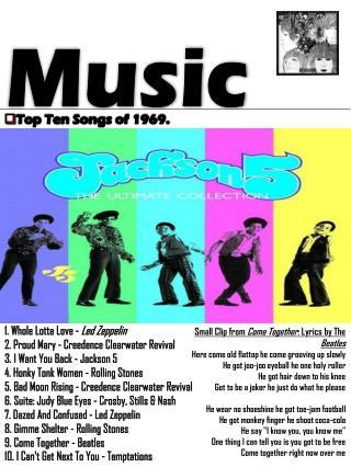 Top Ten Songs of 1969.