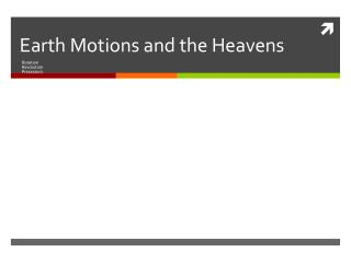 Earth Motions and the Heavens