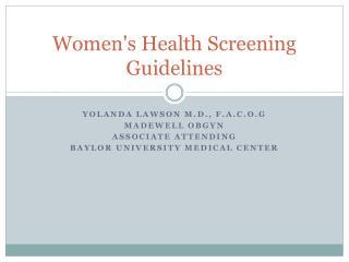 Women's Health Screening Guidelines