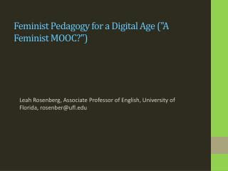 Feminist Pedagogy for a Digital Age (
