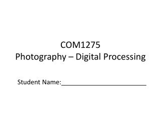 COM1275 Photography – Digital Processing