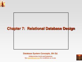 Chapter 7:  Relational Database Design