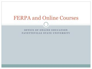 FERPA and Online Courses
