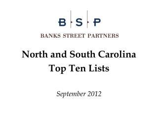 North and South Carolina  Top Ten Lists September 2012