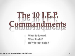 The 10 I.E.P. Commandments