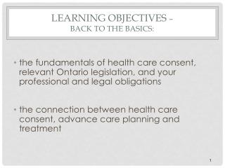 Learning Objectives  –  Back to the Basics: